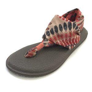 Sanuk Yoga Sling Flat Sandal size 6 tan pink aztec